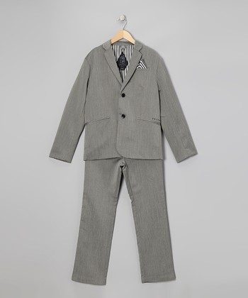 Charcoal Gray Two-Piece Suit Set - Boys