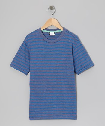 Heather Blue Stripe Redemption Tee - Boys