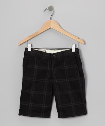 Black Plaid Chino Shorts - Toddler
