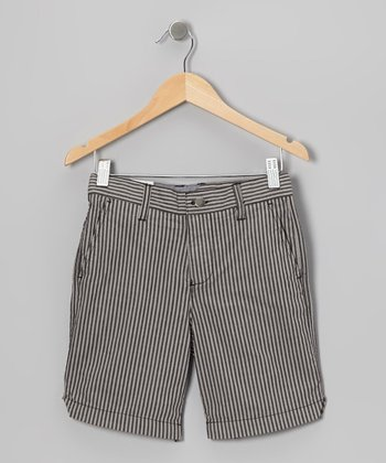 Black & Gray Stripe Loco Shorts - Toddler & Boys