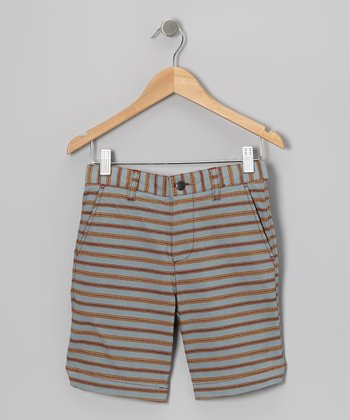 Khaki & Gray Stripe Shorts - Toddler & Boys