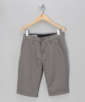 Pewter Friendly Chino Shorts - Boys