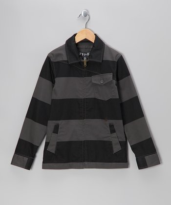 Gray Stripe Ticker Jacket - Boys