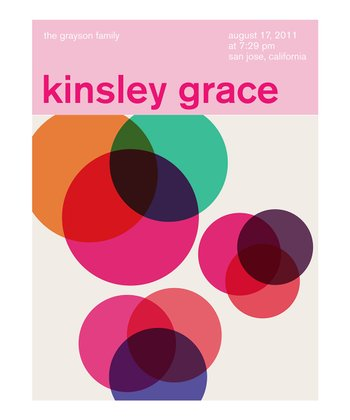 Multicolor Mod Circles Birth Announcement Personalized Print