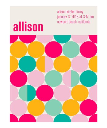 Pink & Yellow Birth Announcement Personalized Print