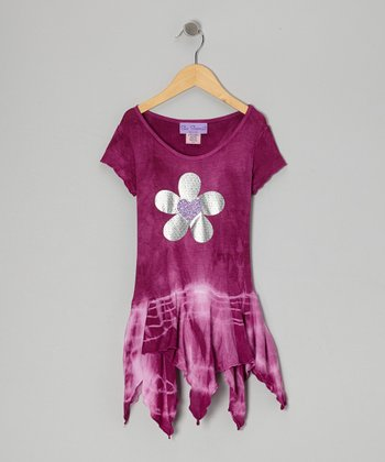 Orchid Tie-Dye Flower Handkerchief Dress - Toddler & Girls