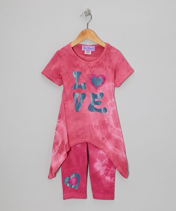 Berry Tie-Dye Sidetail Tunic & Capri Pants - Girls