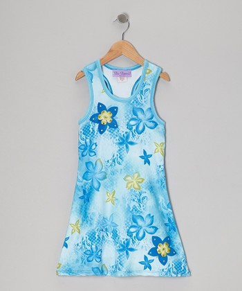 Blue & Lime Hibiscus Racerback Dress - Toddler & Girls