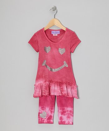 Berry Happy Face Ruffle Tunic & Capri Pants - Toddler & Girls