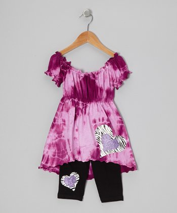 Orchid Tie-Dye Heart Peasant Top & Capri Pants - Toddler & Girls