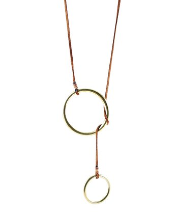 Tan & Gold Double Lasso Pendant Necklace
