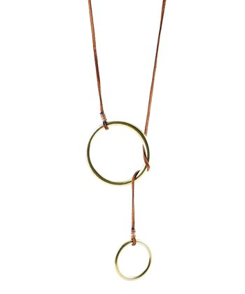 Brown & Gold Double Lasso Pendant Necklace