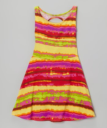 Hot Pink & Burn Stripe Dress