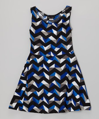 Blue & Black 3D Zigzag Dress