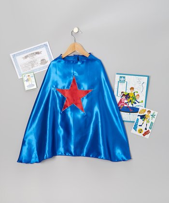 Blue & Red Star Cape Set