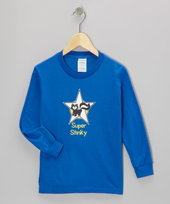 Blue 'Super Stinky' Long-Sleeve Tee - Toddler & Kids