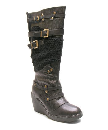 Black Too Backbone Wedge Boot