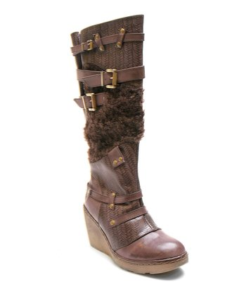 Brown Too Backbone Wedge Boot