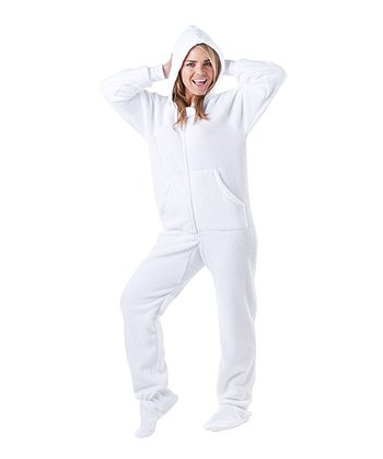White In the Clouds Chenille Hooded Footie Pajamas - Adult
