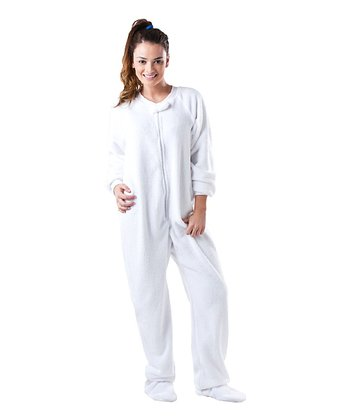 White In the Clouds Chenille Footie Pajamas - Adult