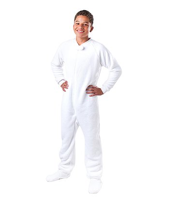 White In the Clouds Chenille Footie - Kids