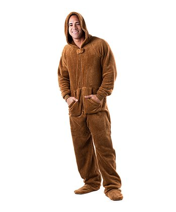 Brown Teddy Bear Chenille Hooded Footie Pajamas - Adult