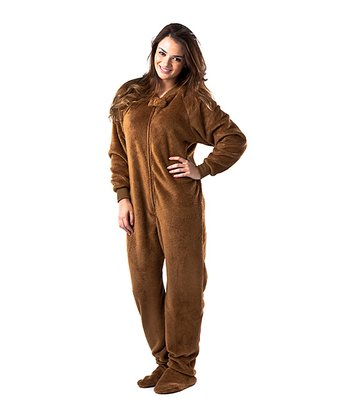 Brown Teddy Bear Chenille Footie Pajamas - Adult
