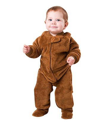 Brown Teddy Bear Chenille Footie - Infant