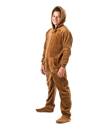Brown Teddy Bear Hooded Footie - Kids