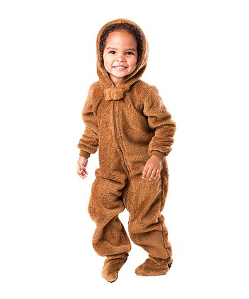 Brown Teddy Bear Hooded Footie - Toddler