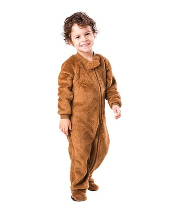 Brown Teddy Bear Chenille Footie - Toddler