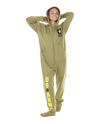 Green 'U.S. Army' Hooded Footed Pajamas - Adults