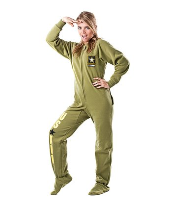 Green 'U.S. Army' Footed Pajamas - Adults