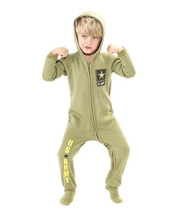 Green 'U.S. Army' Hooded Footie - Kids