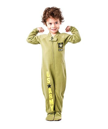 Green 'U.S. Army' Footie - Toddler