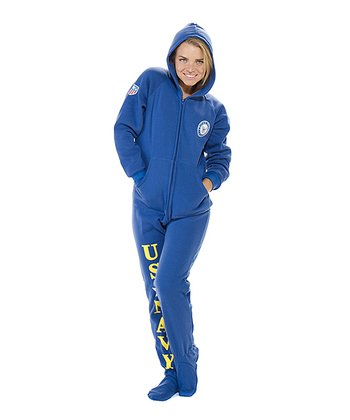 Blue 'U.S. Navy' Hooded Footed Pajamas - Adults