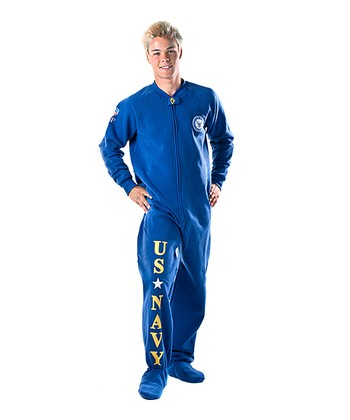 Blue 'U.S. Navy' Footed Pajamas - Adults
