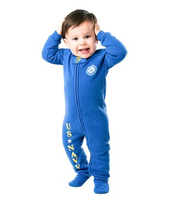 Blue 'U.S. Navy' Footie - Infant