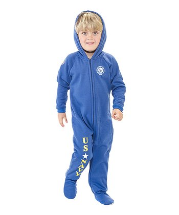 Blue 'U.S. Navy' Hooded Footie - Toddler