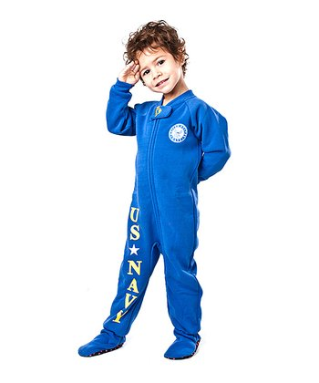 Blue 'U.S. Navy' Footie - Toddler
