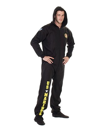 Black 'U.S. Marines' Hooded Footed Pajamas - Adults