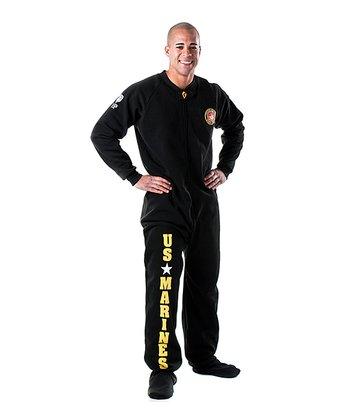 Black 'U.S. Marines' Footed Pajamas - Adults