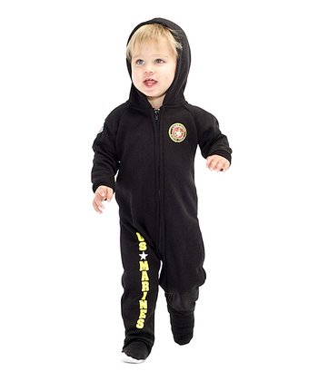 Black 'U.S. Marines' Hooded Footie - Infant