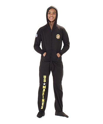 Black 'U.S. Marines' Hooded Footie - Kids
