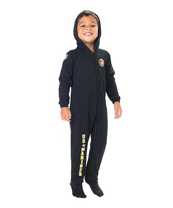 Black 'U.S. Marines' Hooded Footie - Toddler