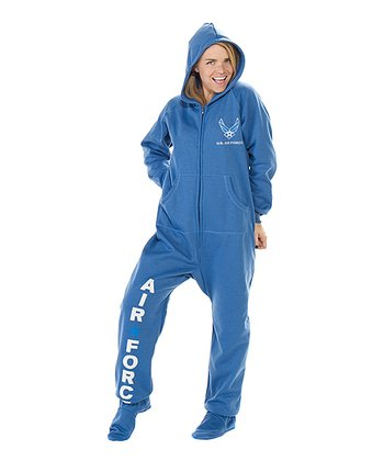 Blue 'U.S. Air Force' Hooded Footed Pajamas - Adults