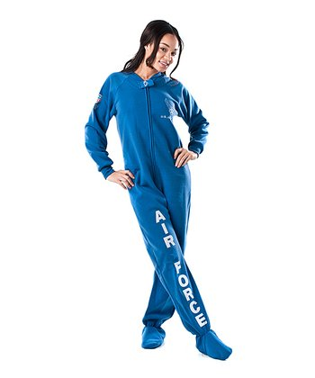 Blue 'U.S. Air Force' Footed Pajamas - Adults