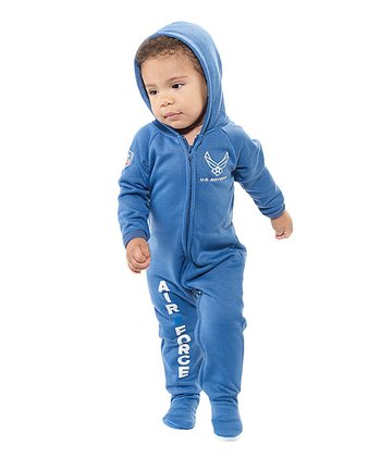 Blue 'U.S. Air Force' Hooded Footie - Infant