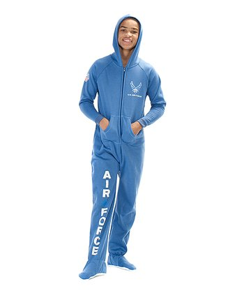 Blue 'U.S. Air Force' Hooded Footie - Kids