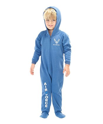 Blue 'U.S. Air Force' Hooded Footie - Toddler